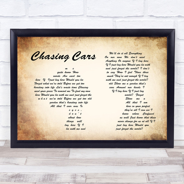 Snow Patrol Chasing Cars Man Lady Couple Song Lyric Quote Print