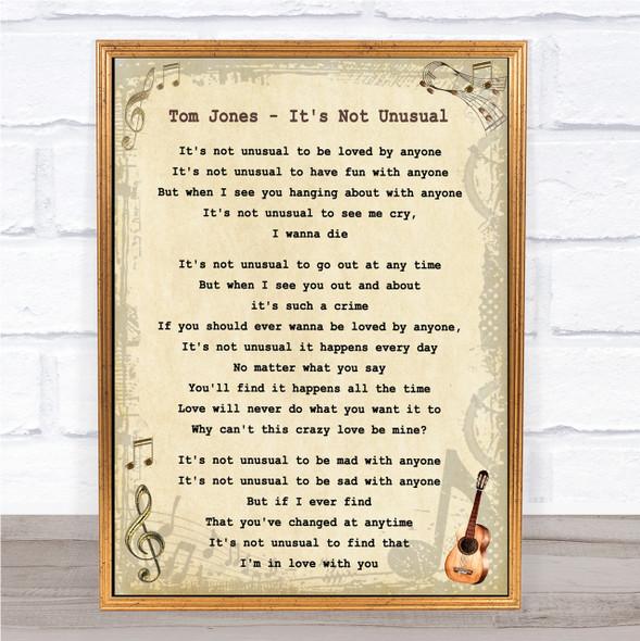 Tom Jones It's Not Unusual Vintage Guitar Song Lyric Quote Print