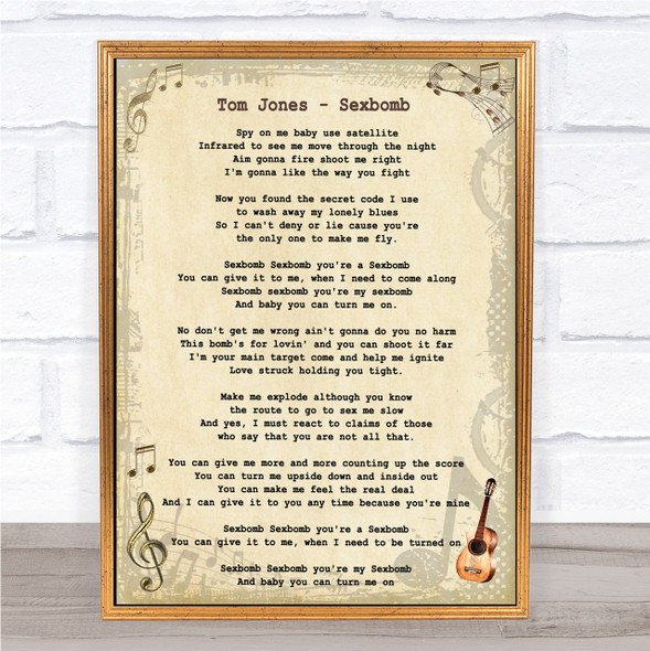 Tom Jones Sexbomb Vintage Guitar Song Lyric Quote Print