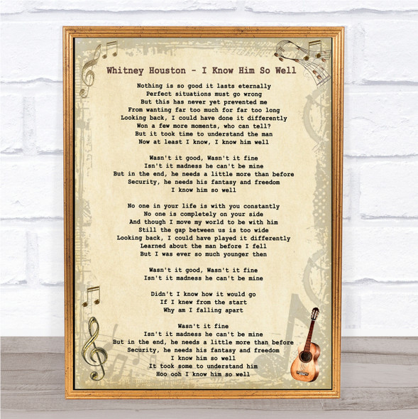 Whitney Houston I Know Him So Well Vintage Guitar Song Lyric Quote Print