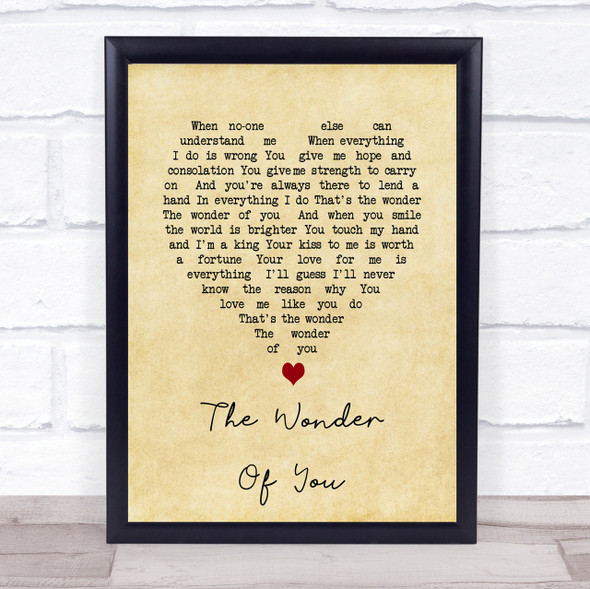 Elvis Presley The Wonder Of You Vintage Heart Song Lyric Quote Print
