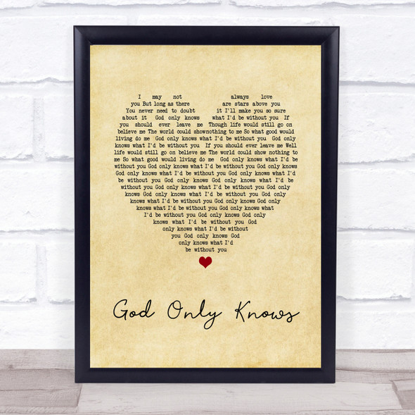 The Beach Boys God Only Knows Vintage Heart Song Lyric Quote Print