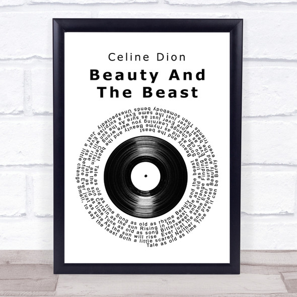 Celine Dion Beauty And The Beast Vinyl Record Song Lyric Quote Print