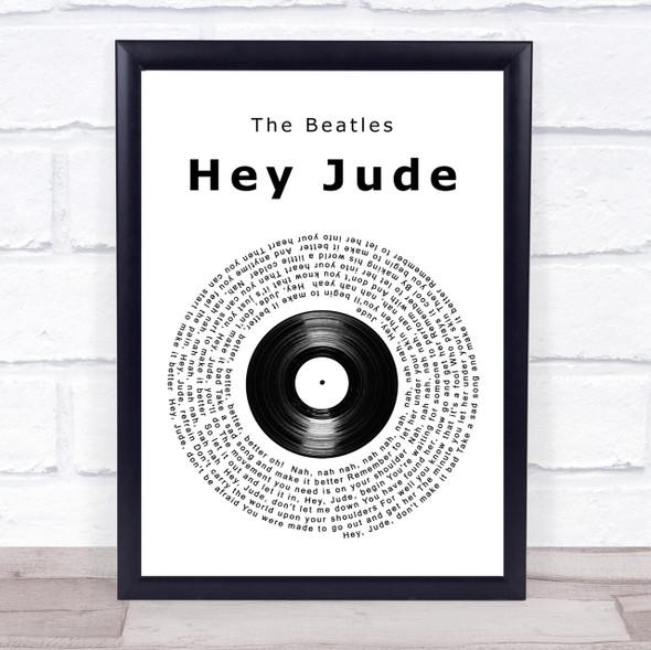 The Beatles Hey Jude Vinyl Record Song Lyric Quote Print