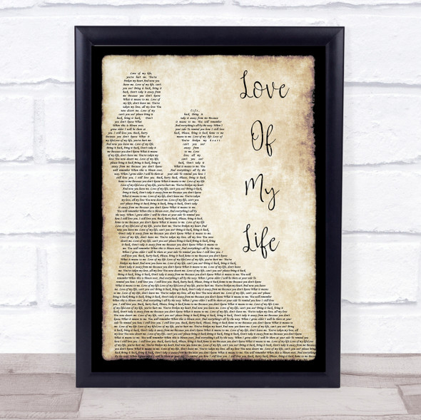 Queen Love Of My Life Song Lyric Man Lady Dancing Quote Print