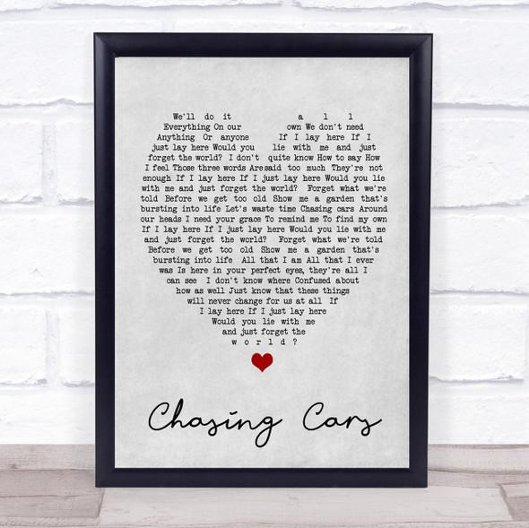 Chasing Cars Snow Patrol Grey Heart Song Lyric Quote Print