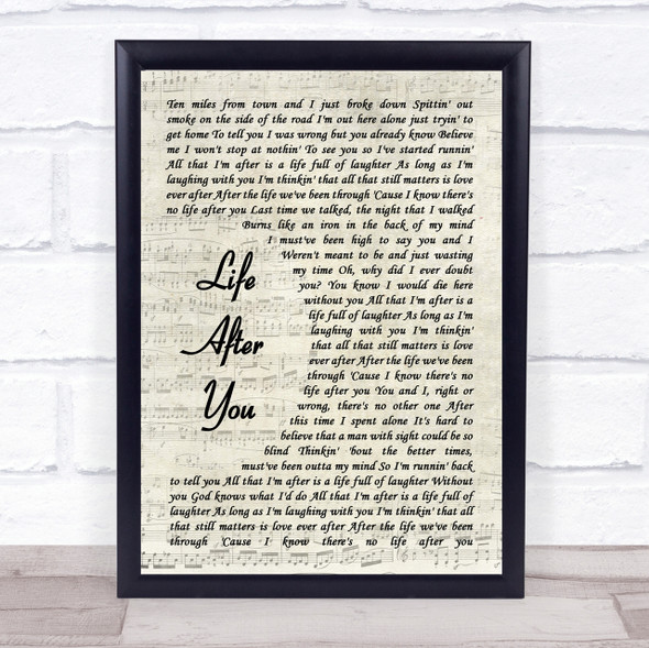Life After You Song Lyric Vintage Script Quote Print