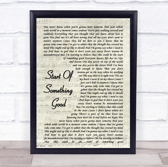 Start Of Something Good Song Lyric Vintage Script Quote Print