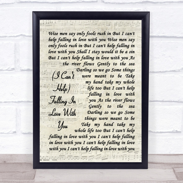 UB40 (I Can't Help) Falling In Love With You Vintage Script Song Lyric Print