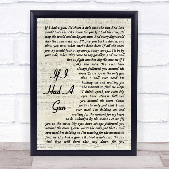 Noel Gallagher If I Had A Gun Vintage Script Song Lyric Quote Print