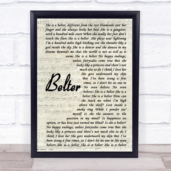 Gerry Cinnamon Belter Vintage Script Song Lyric Quote Print