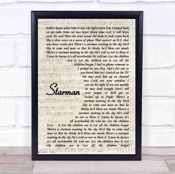 David Bowie Starman Vintage Script Song Lyric Quote Print