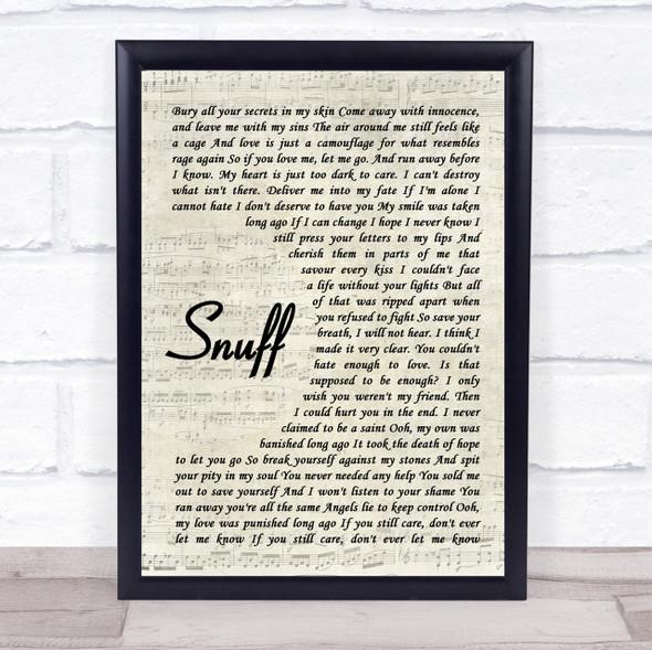 Slipknot Snuff Vintage Script Song Lyric Quote Print
