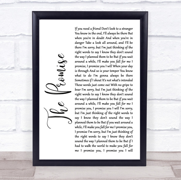 Sturgill Simpson The Promise White Script Song Lyric Quote Print
