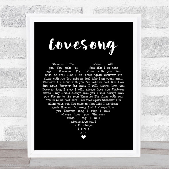 The Cure Lovesong Black Heart Song Lyric Quote Print