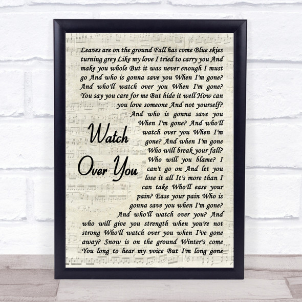 Alter Bridge Watch Over You Vintage Script Song Lyric Quote Print