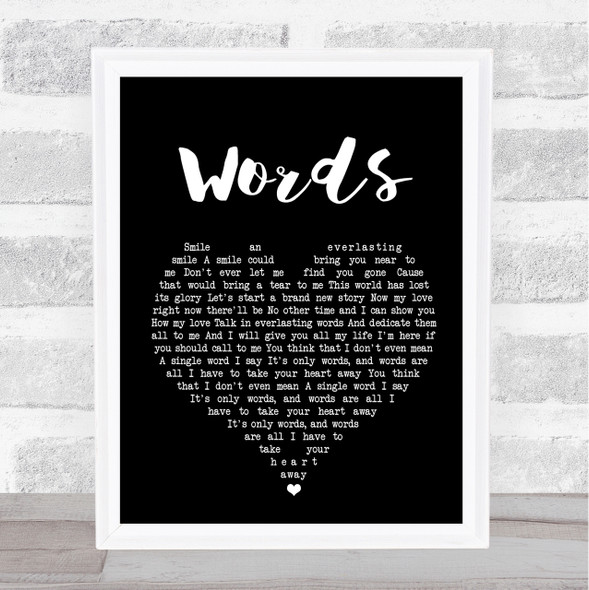 Bee Gees Words Black Heart Song Lyric Quote Print