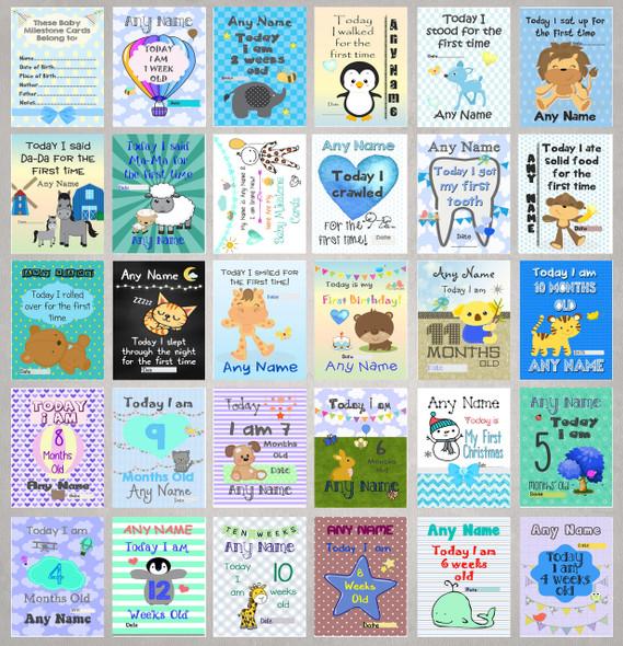Personalised Boys Baby Milestone Cards