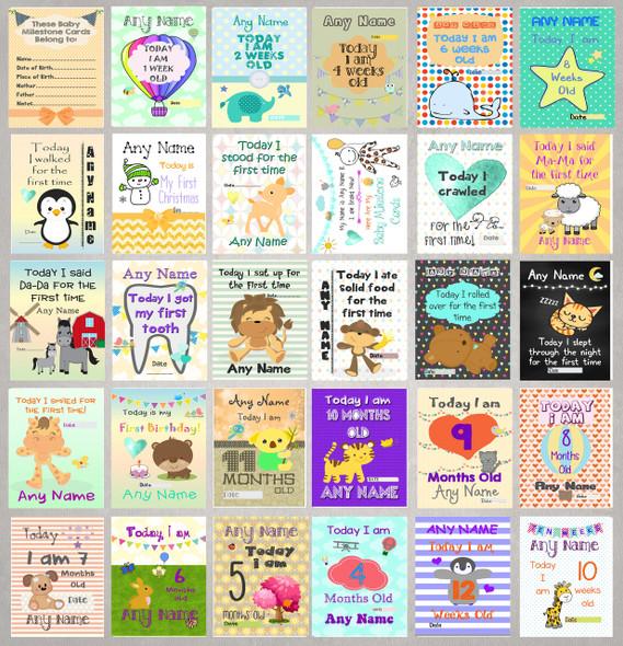 Personalised Gender Neutral Baby Milestone Cards
