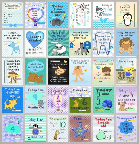 Boys Baby Milestone Cards