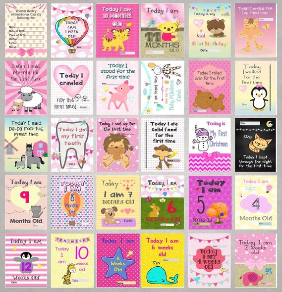 Girls Baby Milestone Cards