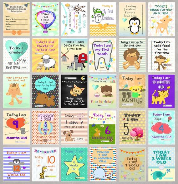 Gender Neutral Baby Milestone Cards