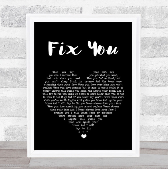 Coldplay Fix You Black Heart Song Lyric Quote Print