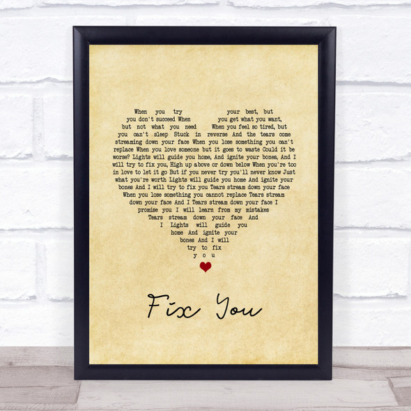 Coldplay Fix You Vintage Heart Song Lyric Quote Print