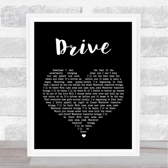 Incubus Drive Black Heart Song Lyric Quote Print