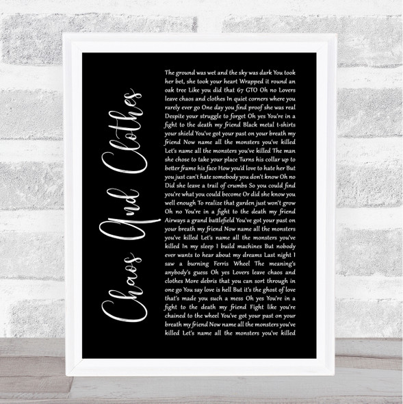 Jason Isbell And The 400 Unit Chaos And Clothes Black Script Song Lyric Print
