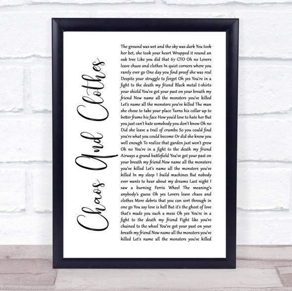 Jason Isbell And The 400 Unit Chaos And Clothes White Script Song Lyric Print