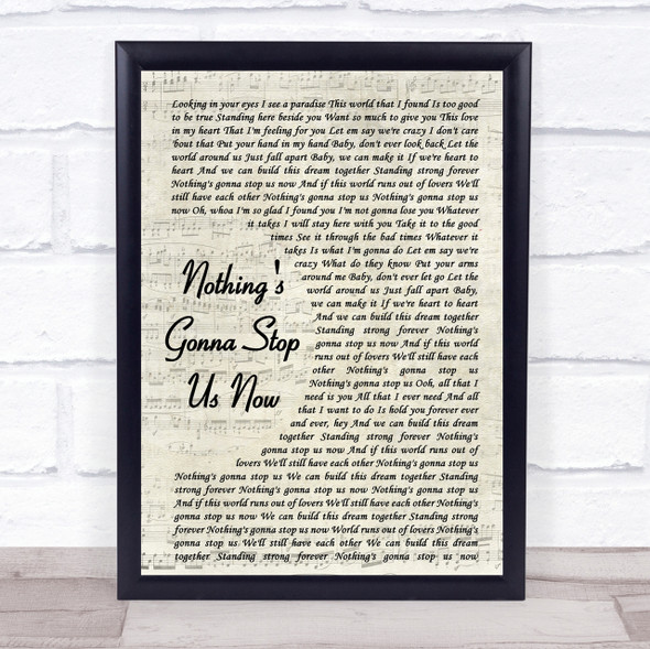 Jefferson Starship Nothing's Gonna Stop Us Now Vintage Script Song Lyric Print