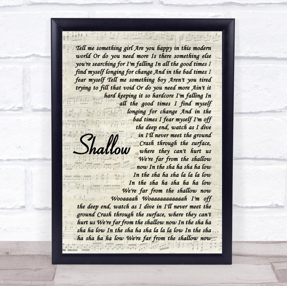 Lady Gaga & Bradley Cooper Shallow Vintage Script Song Lyric Quote Print