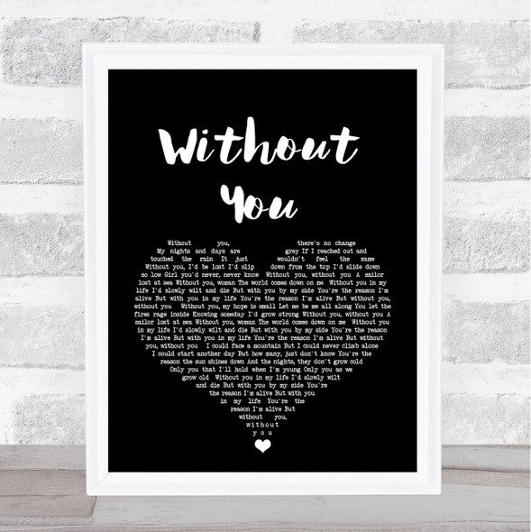 Motley Crue Without You Black Heart Song Lyric Quote Print