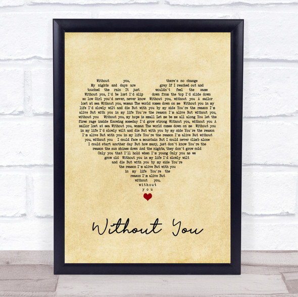 Motley Crue Without You Vintage Heart Song Lyric Quote Print
