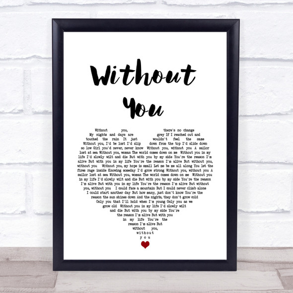 Motley Crue Without You White Heart Song Lyric Quote Print