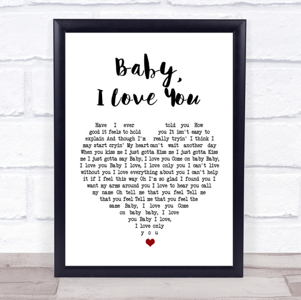 Ramones Baby I Love You White Heart Song Lyric Quote Print