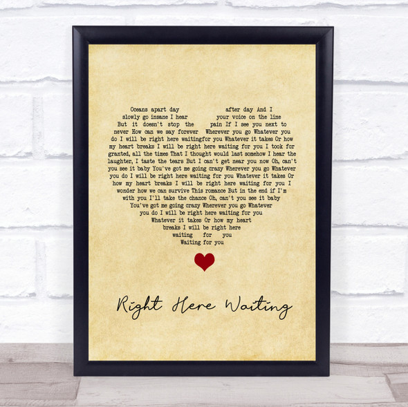 Richard Marx Right Here Waiting Vintage Heart Song Lyric Quote Print