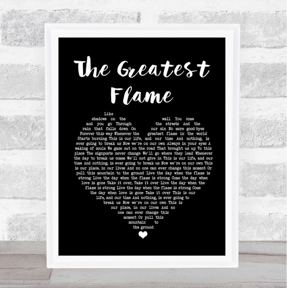 Runrig The Greatest Flame Black Heart Song Lyric Quote Print