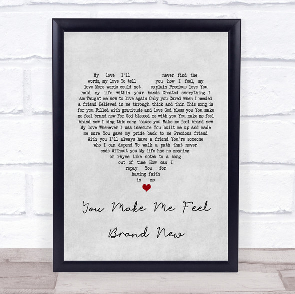 Simply Red You Make Me Feel Brand New Grey Heart Song Lyric Quote Print