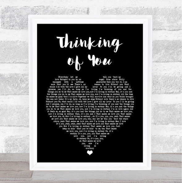 Sister Sledge Thinking of You Black Heart Song Lyric Quote Print
