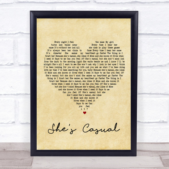 The Hunna She's Casual Vintage Heart Song Lyric Quote Print