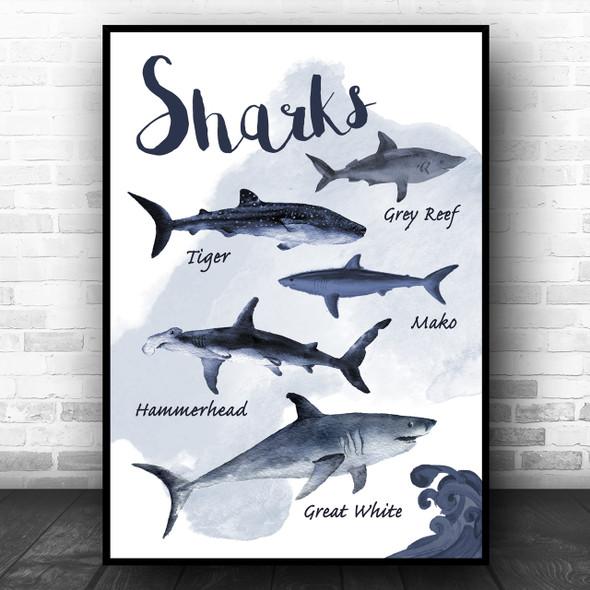 Types Of Shark Children's Nursery Kids Wall Art Print
