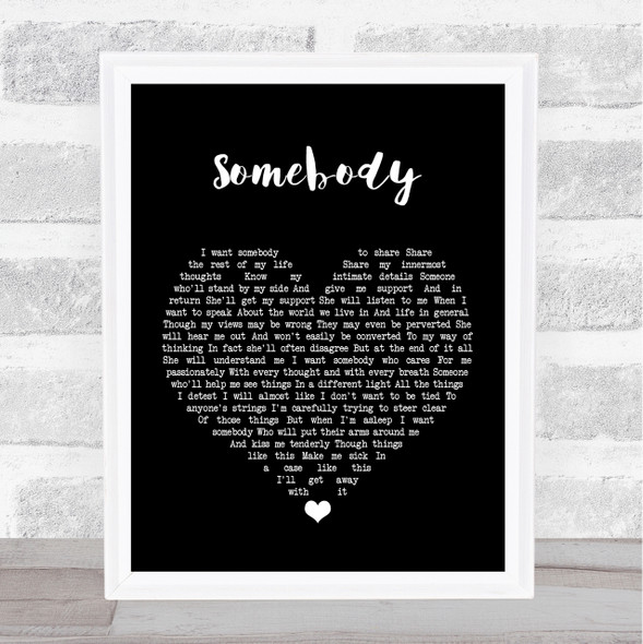 Depeche Mode Somebody Black Heart Song Lyric Quote Print