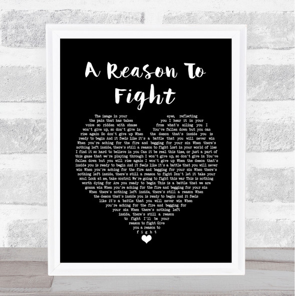 Disturbed A Reason To Fight Black Heart Song Lyric Quote Print