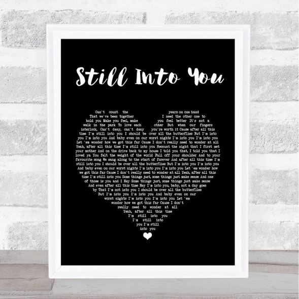Paramore Still Into You Black Heart Song Lyric Quote Print