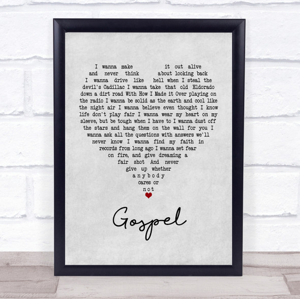 John Moreland Gospel Grey Heart Quote Song Lyric Print