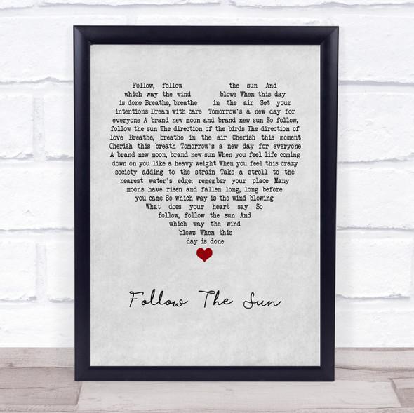 Xavier Rudd Follow The Sun Grey Heart Quote Song Lyric Print