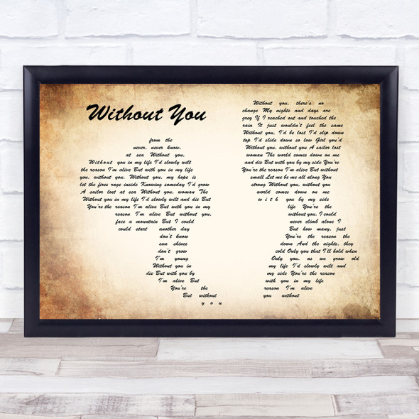 Motley Crue Without You Man Lady Couple Song Lyric Quote Print
