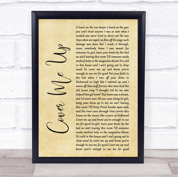 Jason Isbell Cover Me Up Rustic Script Song Lyric Quote Print